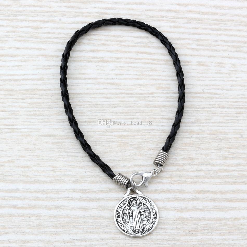 MIC black leather bracelet Antique silver alloy Saint Benedict Medal Charms Bracelet B-58
