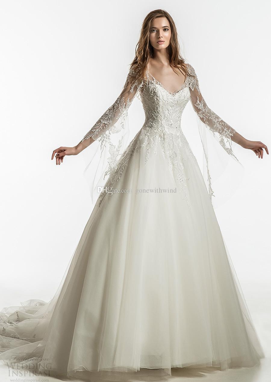 Discount Romantic Fairy Tale Long Sleeves Royal Train Wedding ...