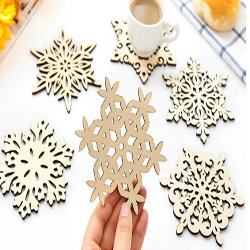 Wooden Snowflake Placemat Coasters Holder Chic Drinks Coffee Tea Cup Mat  Decoration Mats Kitchen Dining Home Table Decoration