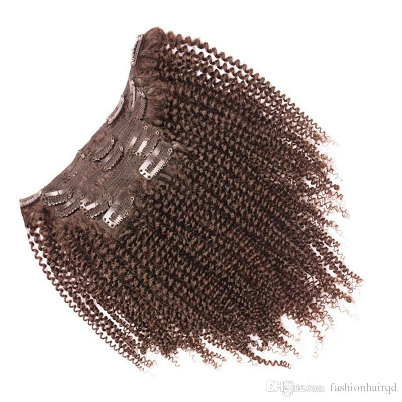 Clip In Kinky Curly Human Hair Extensions 100g Mongolian Virgin Hair Afro Kinky Curly Clip Ins 120g Black Brown Color