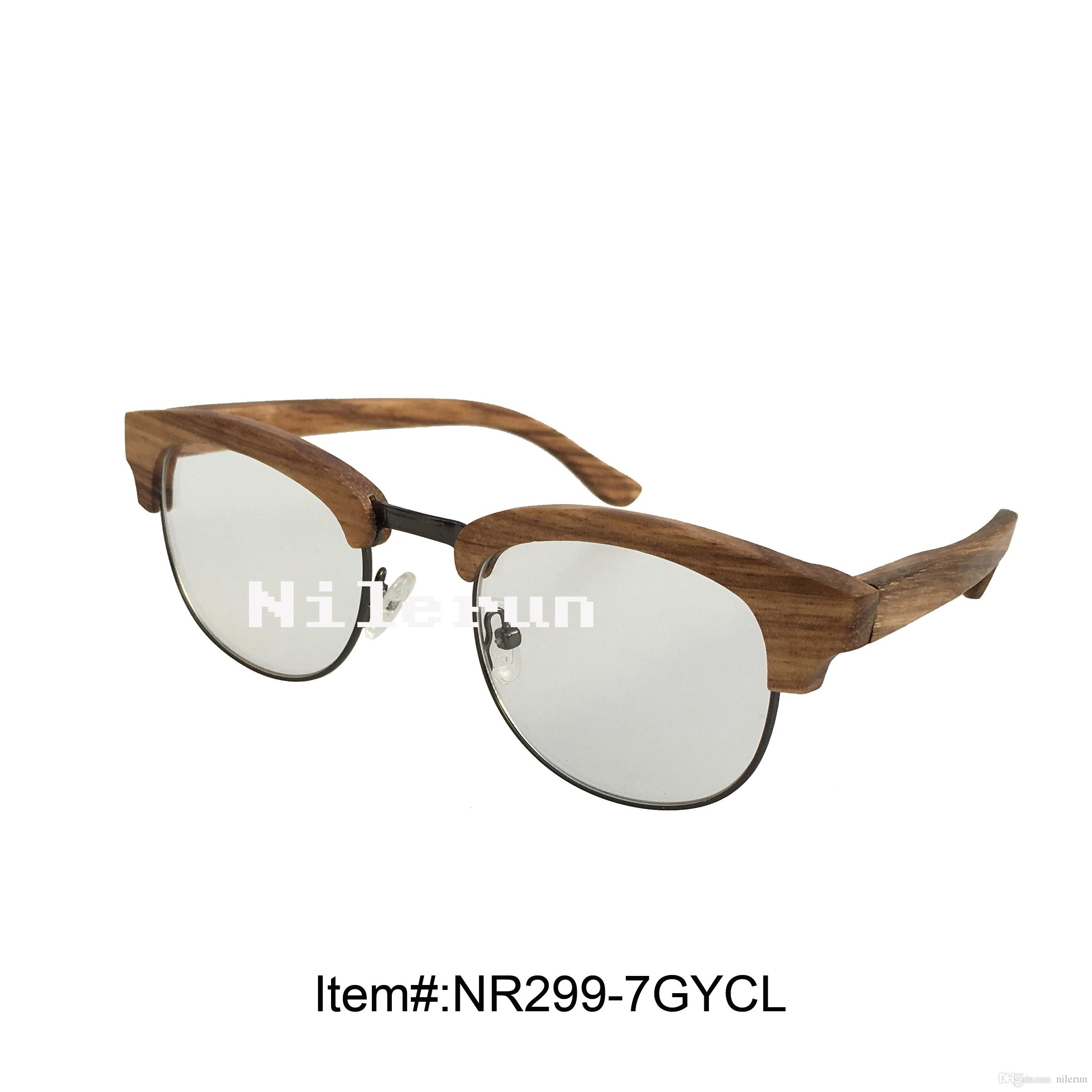 Stylish Oval Shape Zebra Wood Metal Frame Clear Plain Lens Optical ...