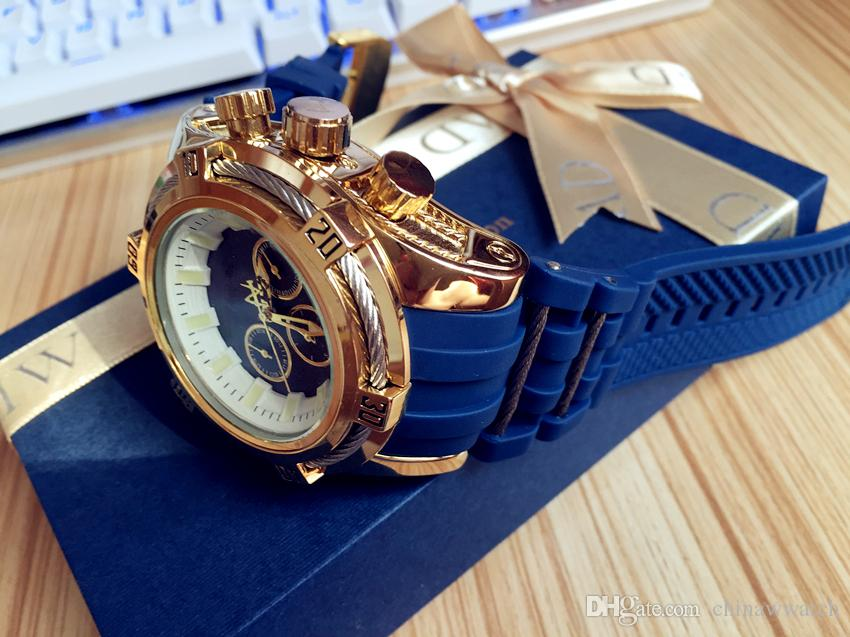 Top Best Gift Men Birthday Quality 52mm Big Dials Luxury Styles Mens Blue Color Watches Quartz Watch Material Silicone Straps