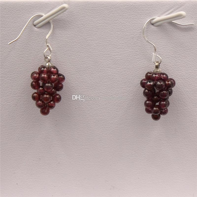 Amethyst Earrings Purple Cluster Gemstone Garnet Earrings Handmade Pretty Healing Crystal Natural Stone Yoga Minimal Jewelry Positive Energy