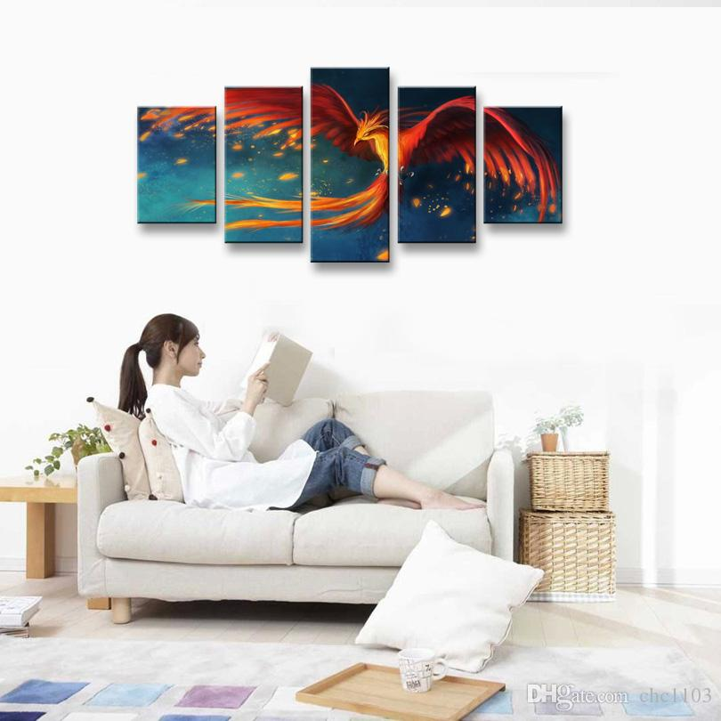 5 Panel phoenix Painting Canvas Wall Art Picture Home Decoration Living Room Canvas Print Modern Painting--Large Canvas Art Cheap A5-010