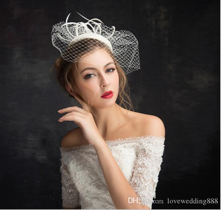 2019 New Beautiful Bridal Hats Ivory High Quality Birdcage Bridal Flower Feathers Fascinator Bride Wedding Face Church Hats Veils