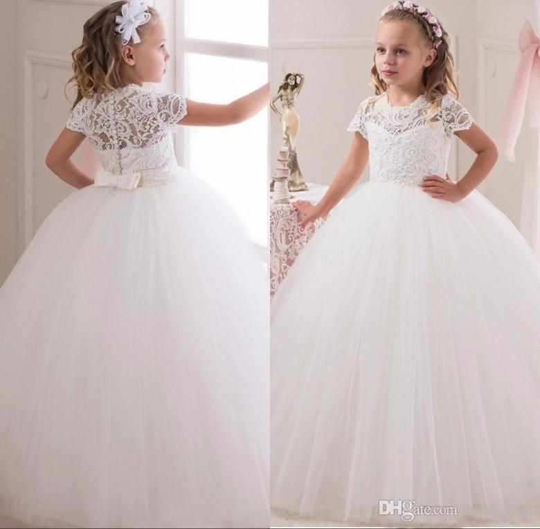 Großhandel Weiß Ballkleid Blume Mädchen Kleider Für Hochzeiten Lange ...