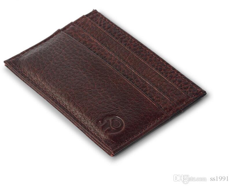 Venta caliente de alta calidad 100% de cuero real carteras mágicas diseñador de moda hombres titular de la tarjeta bancaria al por menor y al por mayor