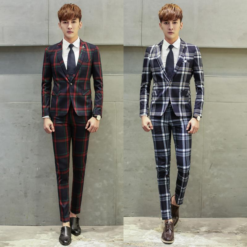 2017 Wholesale Mens Plaid Suits New Fashion Designer Wedding Suits ...