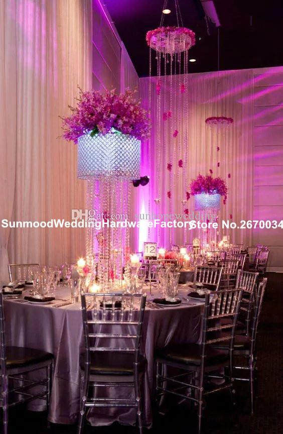 Kristal boncuk düğün çiçek düğün masa dekorasyon için standı
