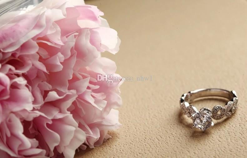 Classical Women 925 Sterling Silver Jewelry Luxury Zircon Diamond Rhinestone Engagement Wedding Rings For Girlfriend Ladies Gift