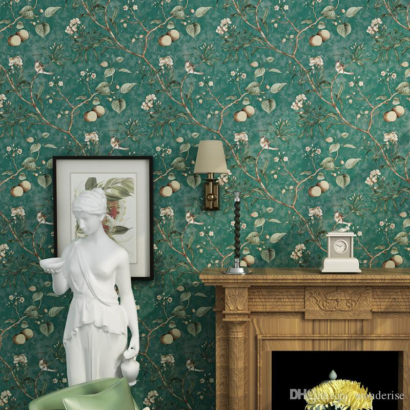 Fruit Tree Wallpaper American Country Pastoral Birds And Flowers Wallpapers Decorative Wall Paper Decal For Living Room Bedroom