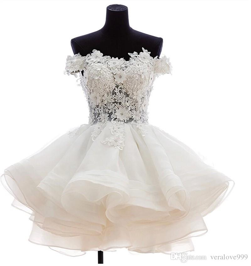 Fuera del hombro vestido de bola Vestidos de novia 2019 Vestidos cortos de novia sexy Puffy Tulle Party Organza Vestidos de novia Volver Cremallera y botón personalizados