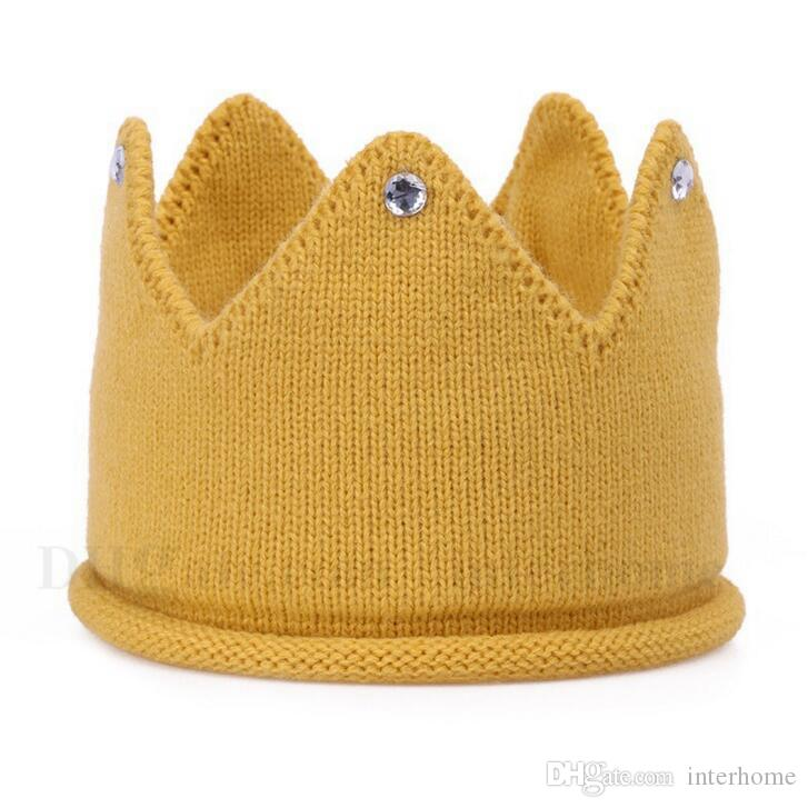 Newborn Baby Hats Infant Knitted Crown Beanie Hat Kids Solid Crochet Birthday Party Cap Children Warm Soft Hats Kid Lovely Accessories H726