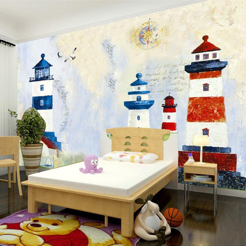 Wholesale Childrens Room Mural Custom Wallpaper Murals Lighthouse