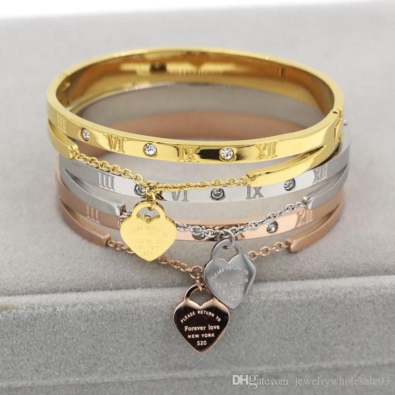 Mulheres de aço inoxidável de luxo bangle numeral romano moda pulseiras de boa qualidade subiu jóias de ouro para a senhora, anel do partido