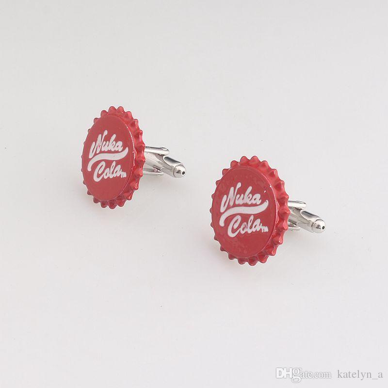 Nuka Cola Fallout Radyasyon 4 Erkekler Kol Düğmeleri erkek Gömlek için Yüksek Kalite Kırmızı Renk Kol Düğmeleri Gümüş Kaplama Manşet Düğmeleri