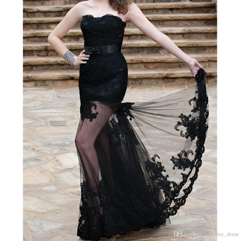 Großhandel Schwarze Abendkleider 10 Trägerlos Transparent Roter Teppich  Spitze Formale Lange Meerjungfrau Party Kleider New Spring Custom Made