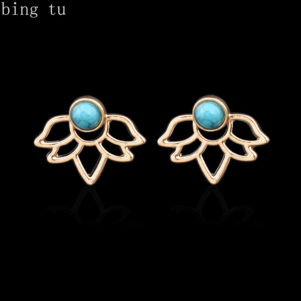 0f2a16fc1 2019 Gold/Silver Plated Double Side Lotus Stud Earrings Female Faux  Turquoise Stone Jewelry Women Party Front Back Ear Studs From India From  Jewelkingdom, ...