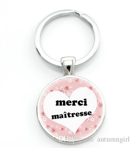 A132 merci maitresse porte-clés porte-bagues porte-clés en argent couleur verre métal pour hommes bijoux bijoux enseignants cadeau