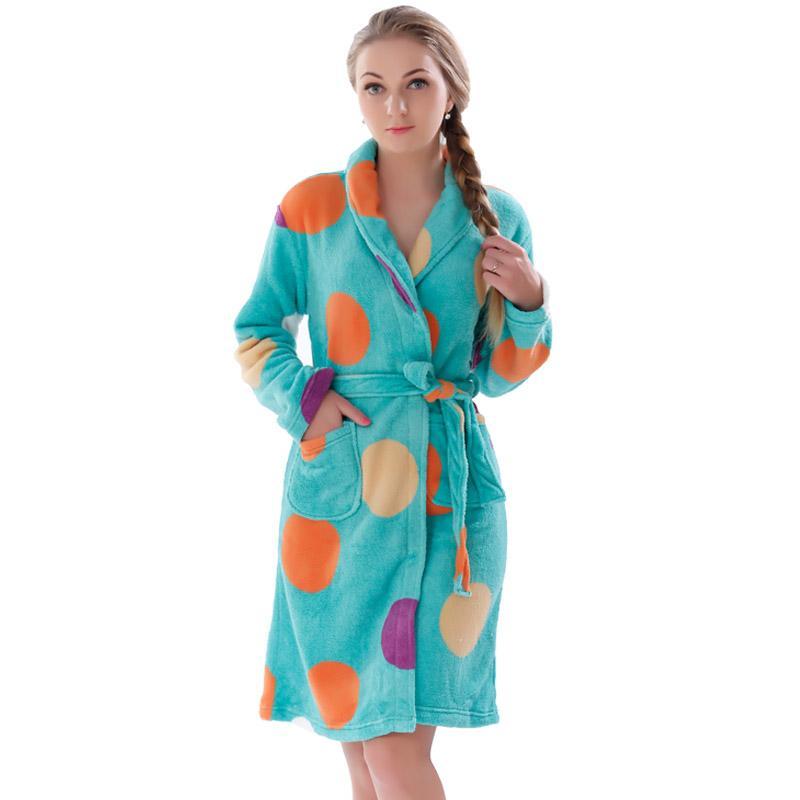 2019 Wholesale New Women Coral Fleece Winter Autumn Warm Bathrobe Nightgown  Kimono Dressing Gown Sleepwear Robe For Lady From Avive d6a9eba18