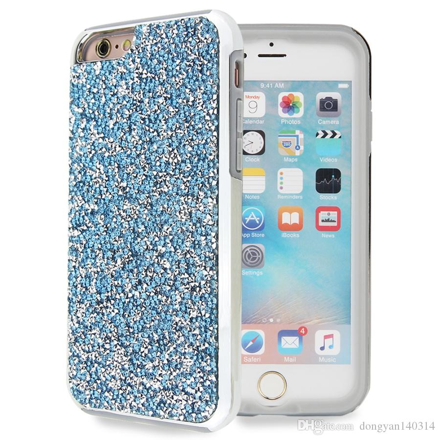 For iPhone 7 7 Plus S8 plus Luxury 2 in 1 Crystal Full Diamond Bling TPU +PC Skin Cases Rhinestone Defender Capa Fundas