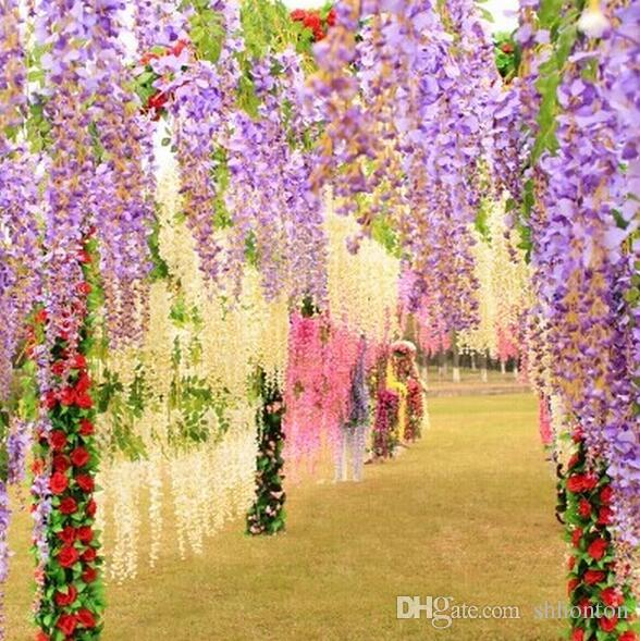 110cm Wisteria Vine flower Artificial flowers Silk Flower Rattan for Wedding Centerpieces Decorations Bouquet Garland Home Ornament IF01