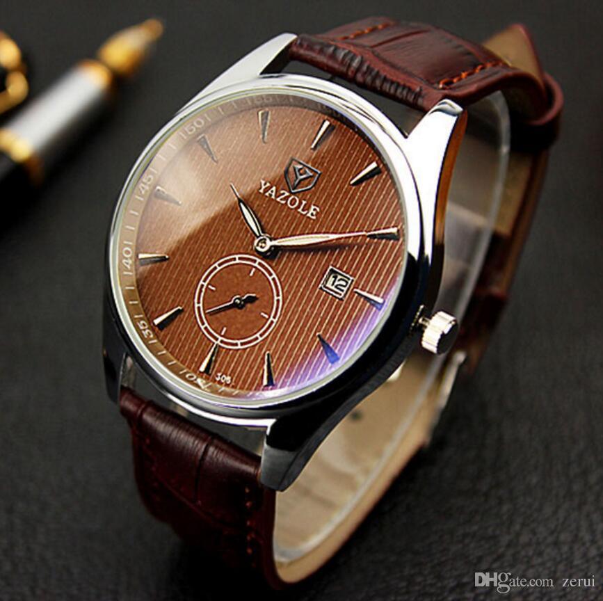 13477f7123e Compre Yazole Relógio De Pulso Novo Calendário Relógio De Pulso Dos Homens  Top Marca De Luxo Famoso Relógio Masculino Relógio De Quartzo Para Homens  Hodinky ...