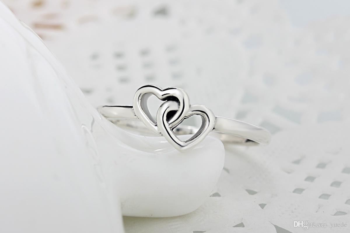 Оптовая 925 Серебряный сладкий любовь тканые кольца Кольцо Fit Pandora цирконий юбилей ювелирные изделия для женщин Рождественский подарок