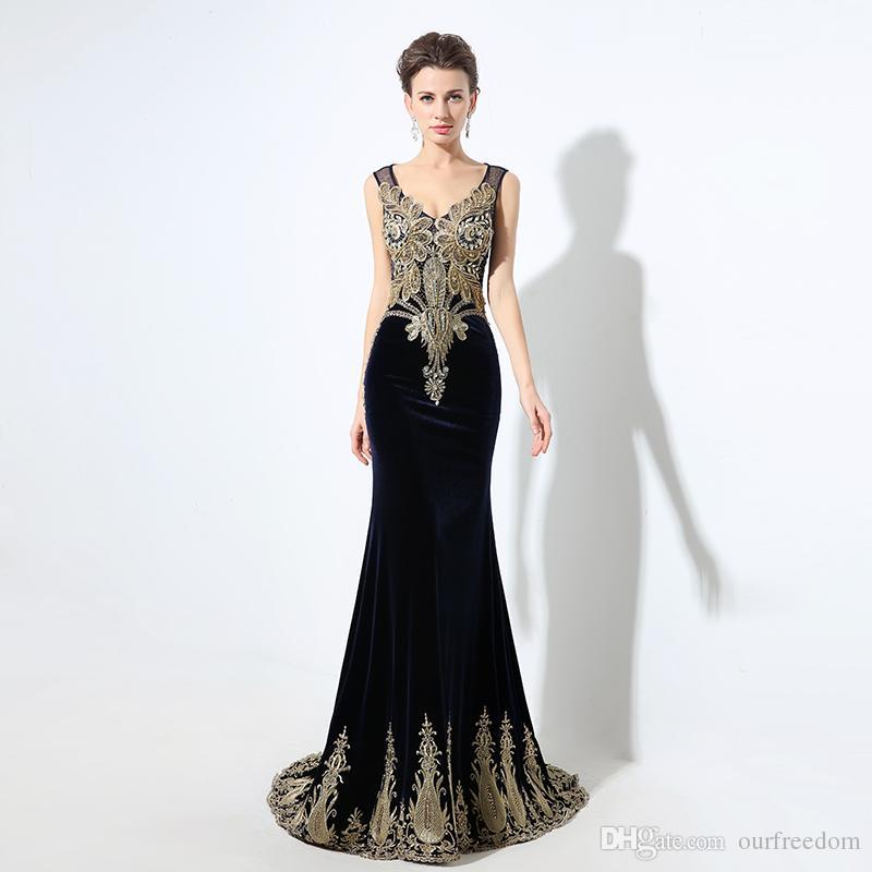 best cheap 5d4ed 42a23 2020 abiti da cerimonia di lusso in rilievo di cristallo designer abiti da  ballo in velluto nero abito da ballo lungo scollo a V sirena abiti da sera  ...