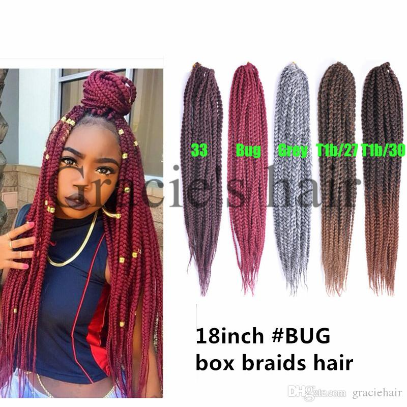 18inch Synthetic Burgundy Hair Extensions Box Braids Crochet Braids