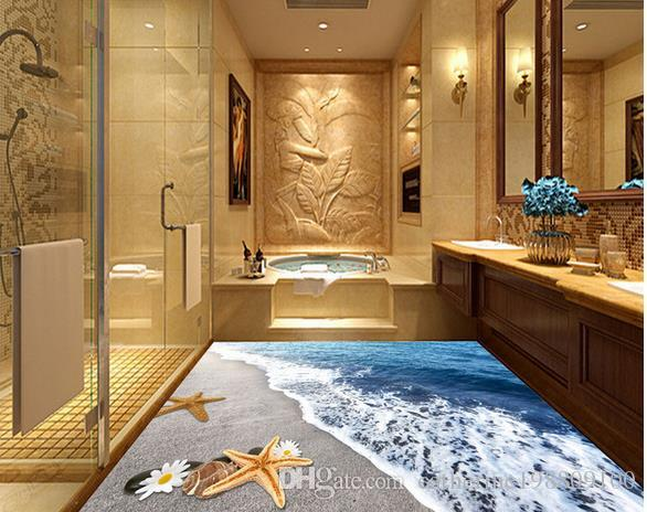 Таможня любые обои пола живущей комнаты мира океана размера 3D водоустойчивые для стены ванной комнаты