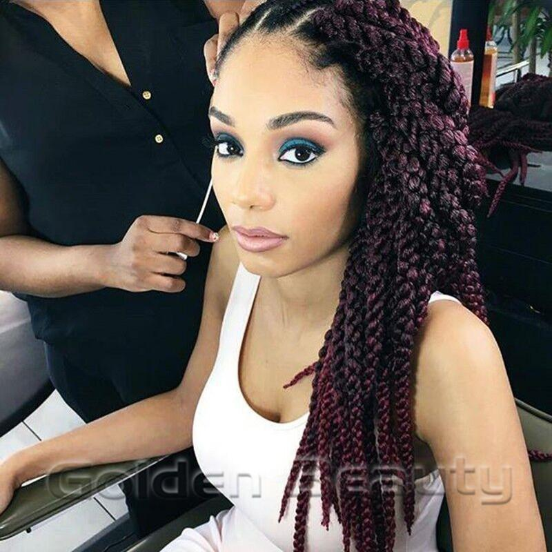 Wholesale 22inch 3d Cubic Twist Braids Synthetic Hair Swith Ombre Blonde Havana Mambo Braid Crochet Extensions Human Micro Ring