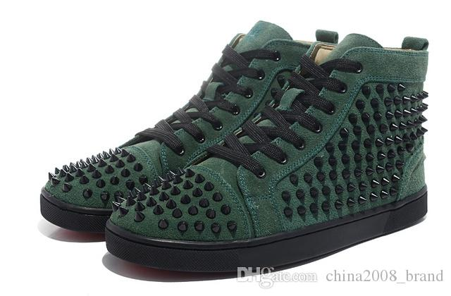 Cheap red bottom sneakers for men with Spikes black suede fashion casual mens shoes ,2017men leisure trainer footwear