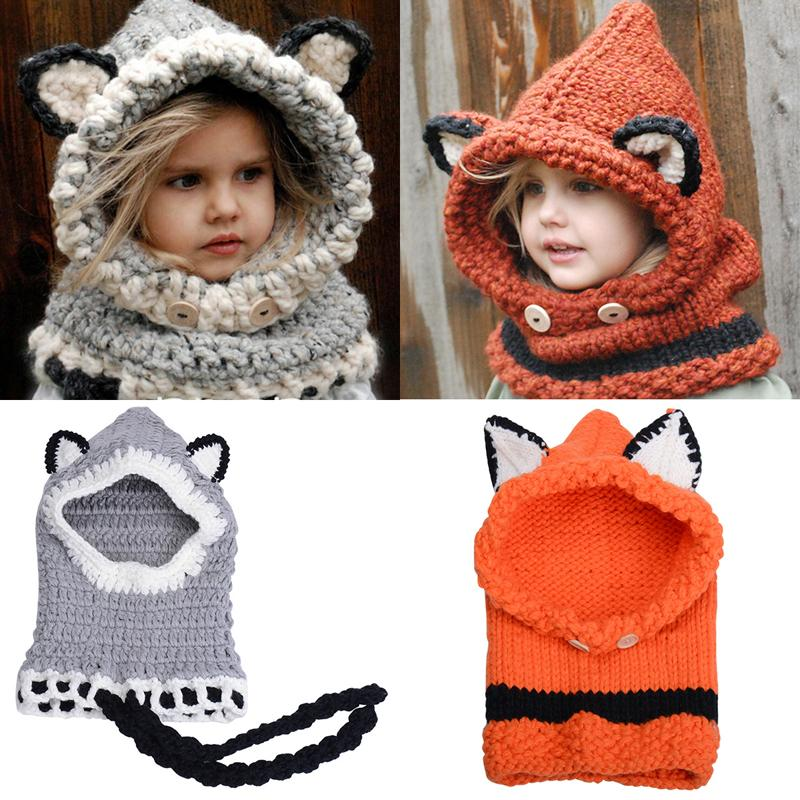 cf56026855c Cute Fox Winter Knitted Hats For Kids Trend Warm Children Beanies Shawl Cap  Boys Girls Skull Scarf Caps Wool Shapka GH 140 Cap Hat Cute Beanies From ...