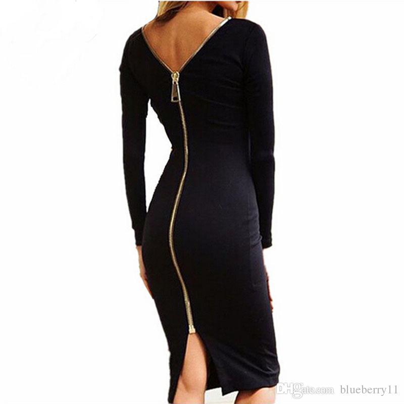 Mode Black Langarm Party Kleider Frauen Kleidung Rücken voller Reißverschluss Robe Sexy Femme Bleistift Tight Kleid