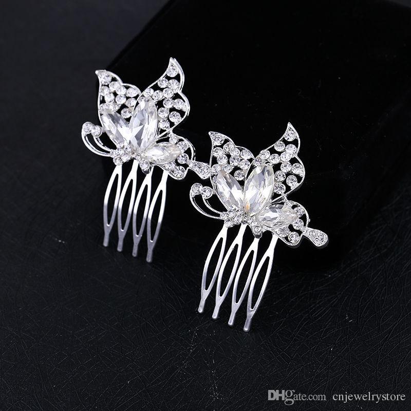 Sparkly Avusturyalı Kristal Kelebek Düğün Saç Tarak Tiara El Yapımı Gümüş Takı Gelin Metal Saç Tarak Aksesuarları Kadınlar için