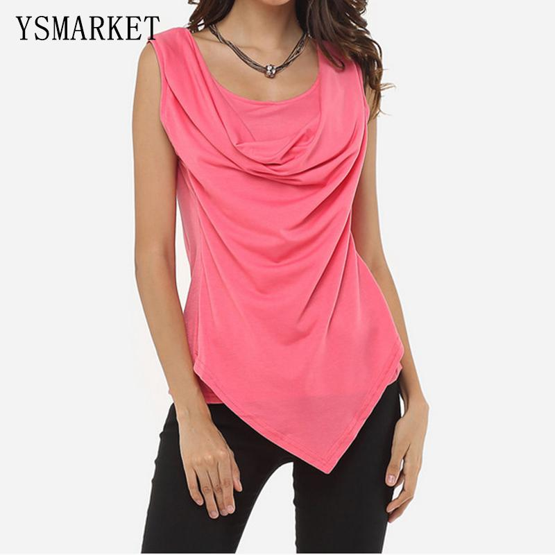 28656151b83 2017 Summer Plus Size XL Womens Sexy Sleeveless Cowl Neck Vest Tops Solid  Colors Draped Wrap Tank Shirt Female Slim Blouse E6608 Witty Tee Shirts Tee  Shirt ...