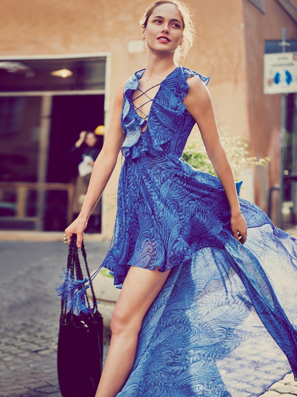 US UK 2018 Summer Women V neck Hippie Boho People Blue print Asymmetrical High low Maxi dress Female Ethnic Bohemian Vestido