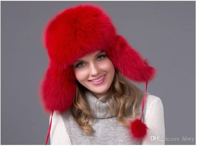 Hot sale inverno quente das mulheres guaxinim raposa Fur Chapéu Bombardeiro Chapéus boné de neve gorro de pele de capim de pele grossa Bomber Chapéus protetor cap