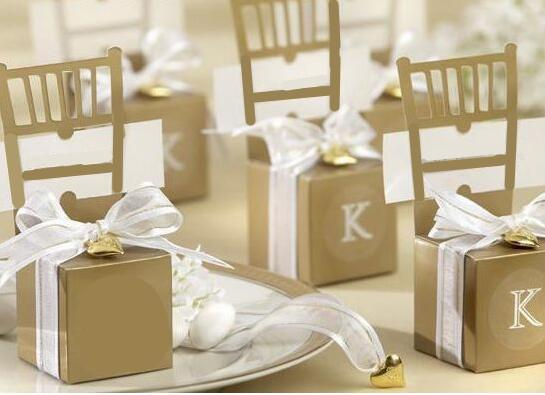 Silver Golden Chair Bomboniere Candy Box Wedding Favor Gift Box Wedding Decorations Candy Boxes With Heart Pendant Ribbon