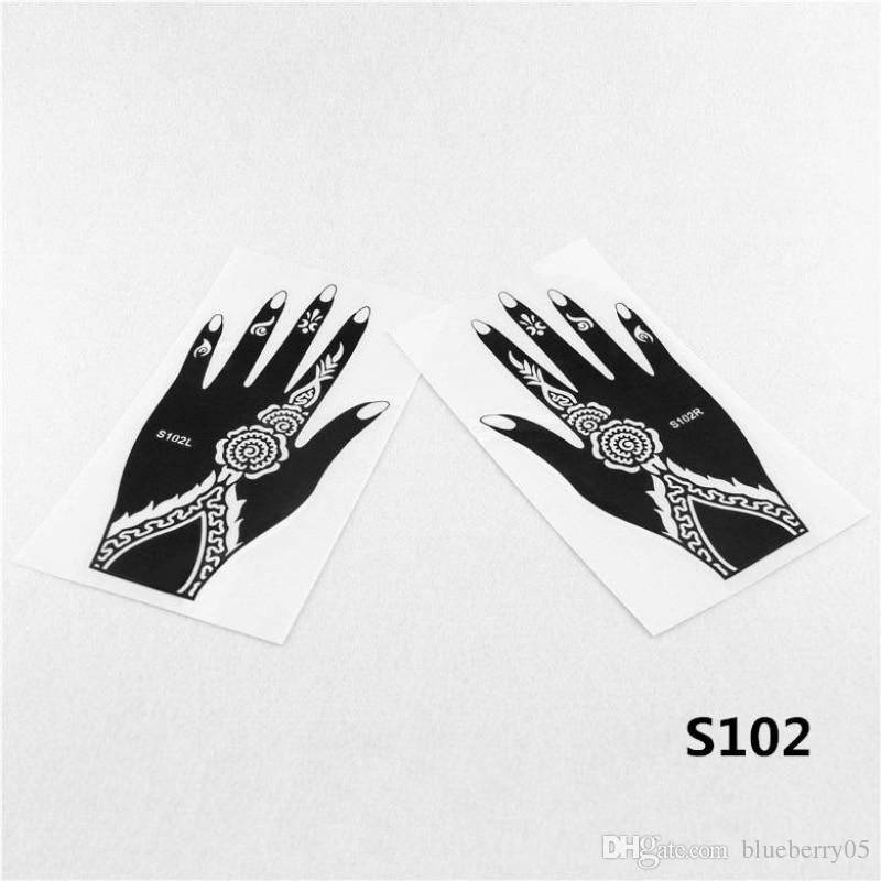 Wholesale Henna Stencil Arabic Indian Style Temporary Hand Tattoo Body Art Sticker Reusable Airbrush Tattoo Supplies