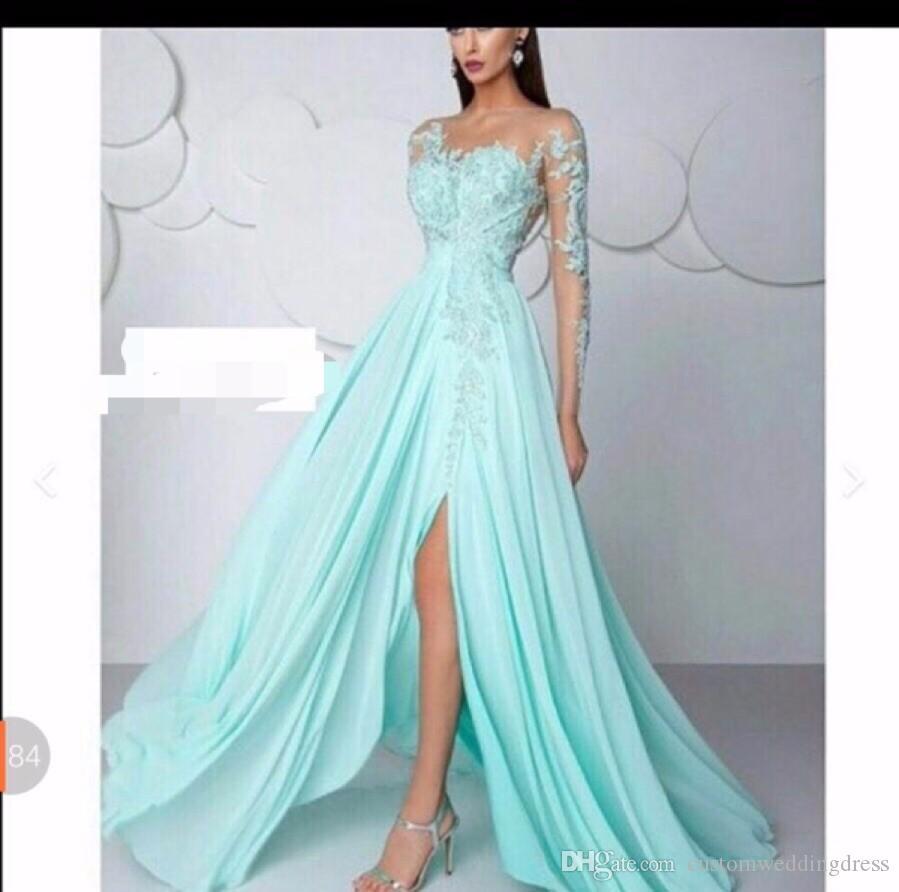 Großhandel Hellblau Abendkleid Lange Abendkleider Lang Abendkleider Elegant  Chiffon Abendkleid EM12 Von Customweddingdress, 12,12 € Auf De.Dhgate.Com