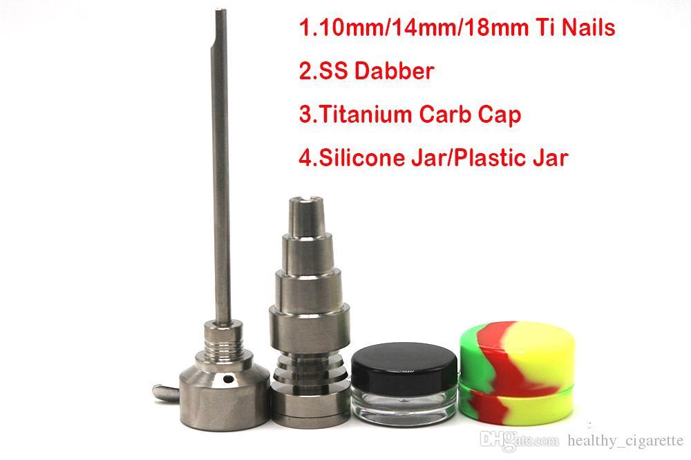 الزجاج بونغ مجموعة أداة 10MM 14MM 18mm وDomeless GR2 التيتانيوم مسمار جرة كارب كاب Dabber البلاستيك للحصول على النفط الحفارات الزجاج بونغس في سوق الأسهم