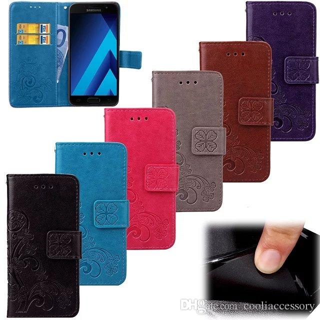 Lucky Clover Carpeta de cuero del caso para Samsung Galaxy Core M31S A01 A31 J7 A3 A5 J3 2017 Alfa G850F MOTO G4 Juego Correa soporte de la tarjeta cubierta de la ranura