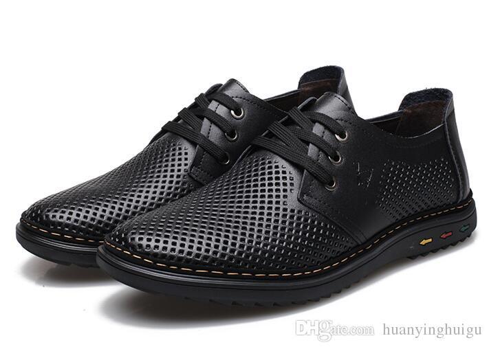 Chaussures nouvelle robe de marié de style hommes refroidissent chaussures en cuir évider respirant sandales à lacets chaussures de conduite Papa LX64