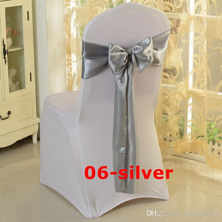 silver satin chair sash used for wedding spandex chair cover satin