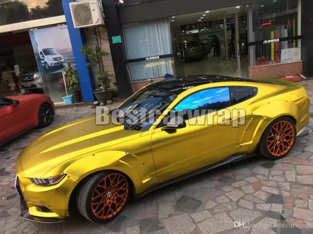 2019 2017 Satin Chrome Gold Vinyl Car Wrap Film With Air