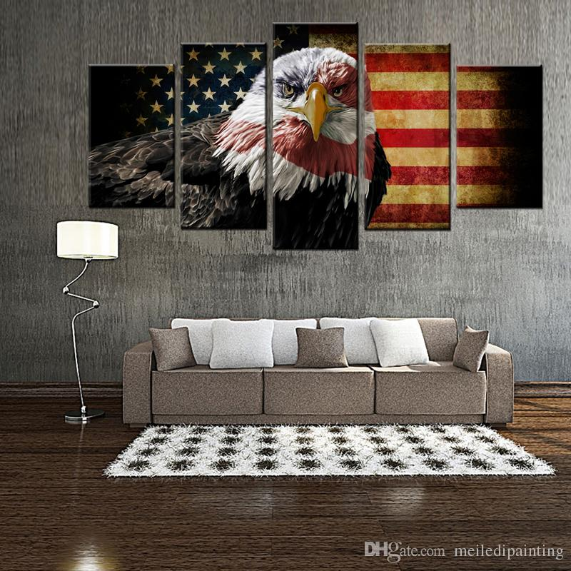 953d0b0632a 2019 5 Panles Wall Art Painting Retro American Flag And The Bald