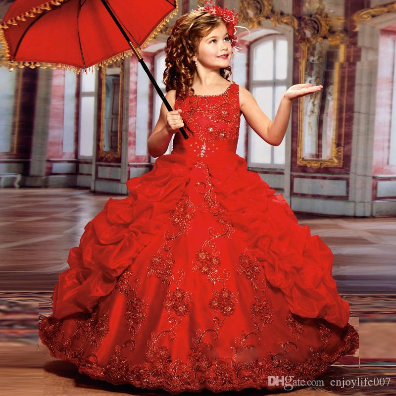 2017 New Sparkly Girls Pageant Dresses for Teens Red Ball Gown Beads Lace Embroidery Kids Evening Prom Dresses