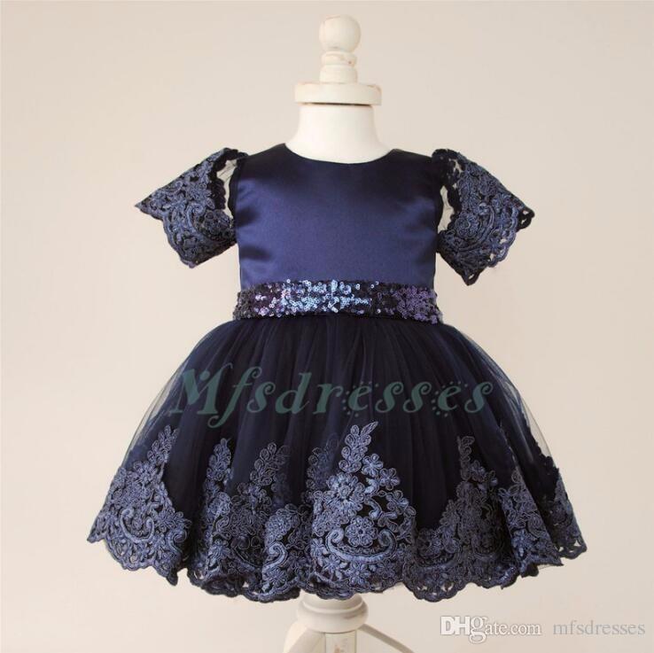 2017 Carino Blu Navy Breve Flower Girl Abiti Bow Bella lunghezza del ginocchio Bambini Baby Birthday Party Gowns ragazze abiti da festa formale